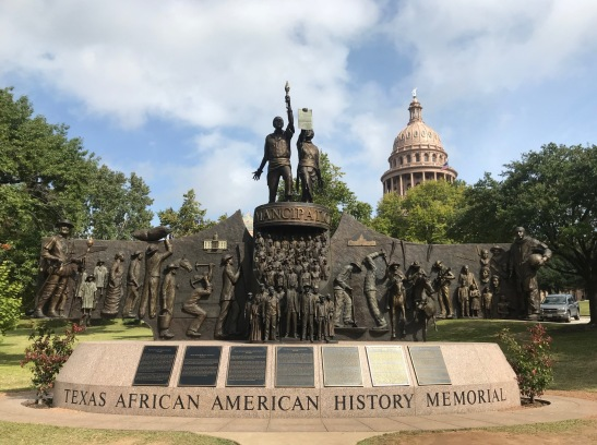 The capitol building features statues and plaques commemorating the different groups relevant to Texas history.