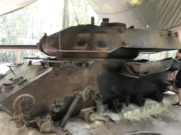 American tank damaged beyond repair by Viet Cong landmine.