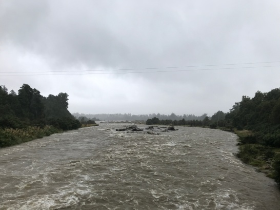 Swollen muddy rivers leading to the coast.