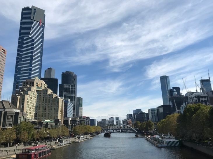 Yarra River dividing downtown Melbourne