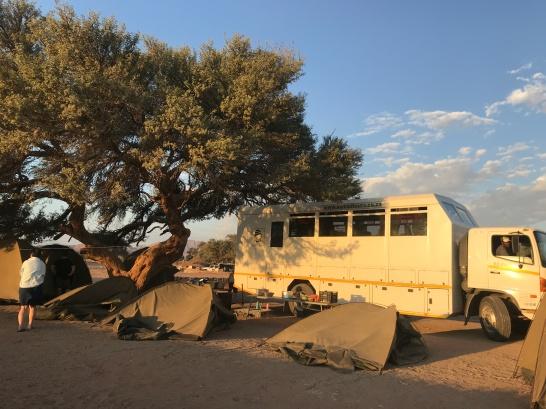 Tents after sandstorm.